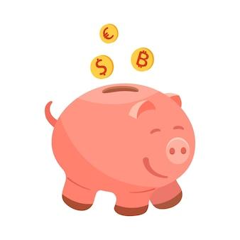 Bitcoin 동전, 유로 달러와 돼지 저금통. 돈과 저축을 위한 어린이 금고의 벡터 삽화.