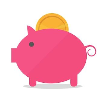 Свинья копилка с монетой векторные иллюстрации в плоский. концепция сбережения или накопления денег или открытия банковского вклада. идея иконы вложений в виде игрушечной копилки-копилки
