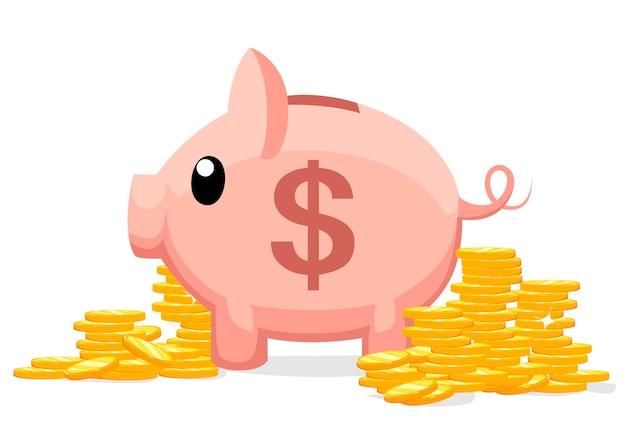 でのコインのイラストと豚貯金箱。お金を節約または節約するか、銀行預金を開くという概念。おもちゃの豚の貯金箱の形で投資のアイコン。