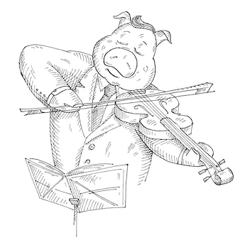 豚はバイオリンを弾きます。白い背景で隔離のヴィンテージベクトルモノクロハッチングイラスト。 tシャツの手描きのデザイン要素