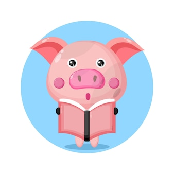 Pig reading a book cute character logo
