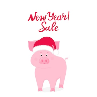 Pig in santa claus hat. new year sale bunner.