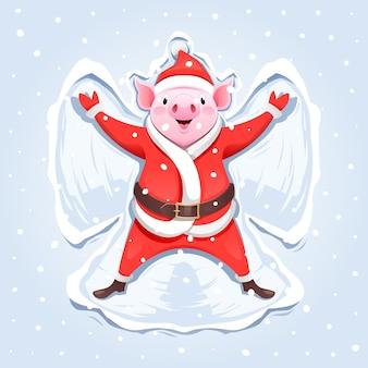 Pig santa claus making a snow angel