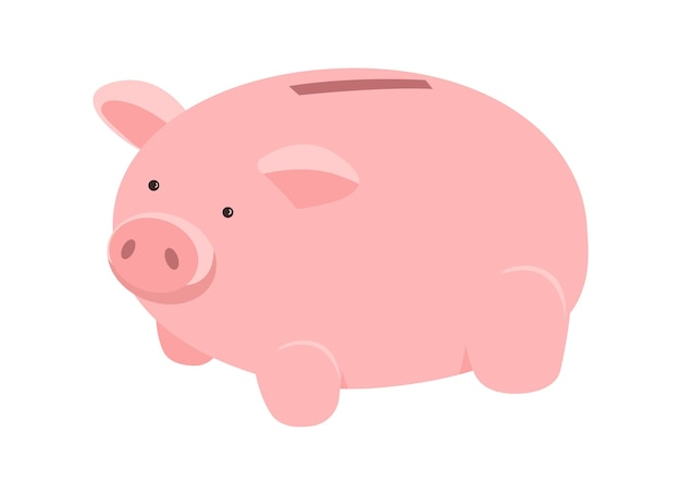Pig for saving money semi flat color vector object. piggy bank. putting cash aside. money box. financial management isolated modern cartoon style illustration for graphic design and animation
