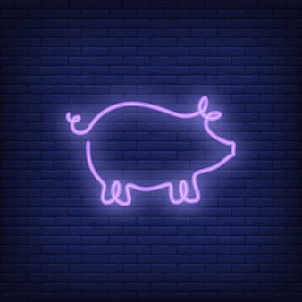 Pig shape neon sign template. night bright advertisement.