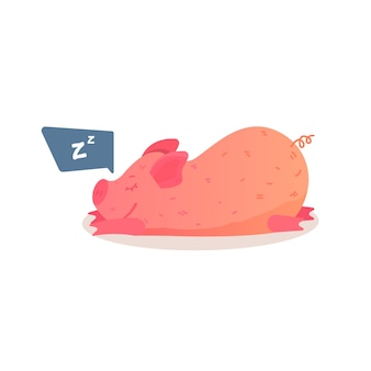 Свинья спит на животе иллюстрации.