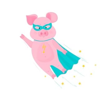 豚のスーパーヒーローはマスクとマントで飛ぶ。ピギーベクトル漫画のキャラクター。