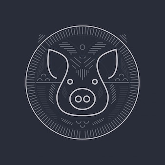 Pig symbol design - line art style pig head illustration