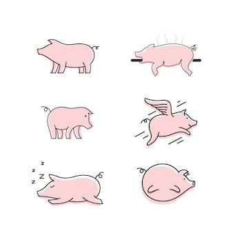 豚のシンボルテンプレートベクトルアイコンイラストデザイン