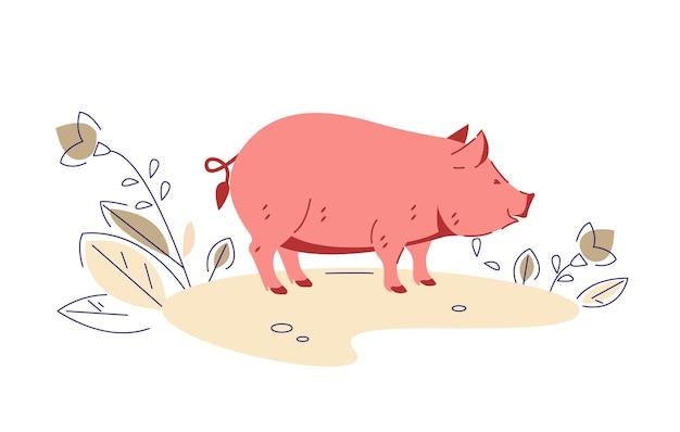 Свинья. векторная иллюстрация в плоском мультяшном стиле.