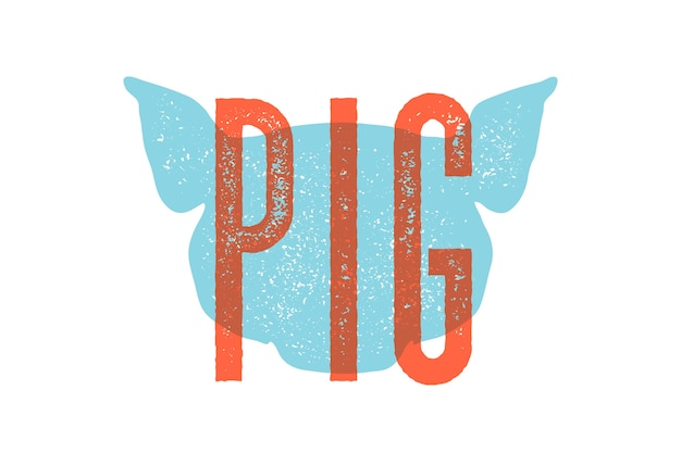 Свинья. винтажная типография, надписи, ретро-печать, плакат для мясной лавки, силуэт головы свиньи с надписью pig.