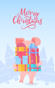 Pig walks through the forest and carries boxes with gifts. merry christmas hand lettering. greeting card for the new year holidays