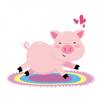 Pig with colorful carpet