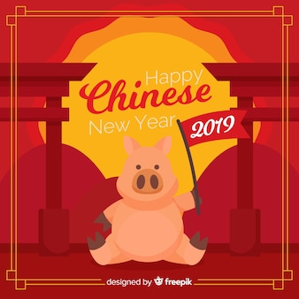 Pig with flag chinese new year background