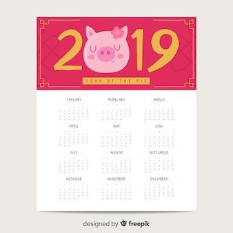 Pig with flower chinese new year calendar