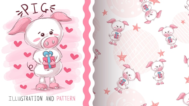 Pig with gift  seamless pattern