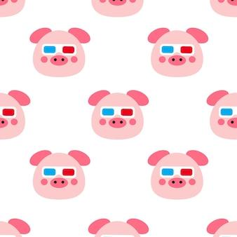 Свинья в очках бесшовные модели иллюстрации шаржа Premium векторы
