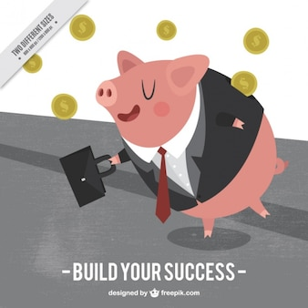 Pig with suit and money