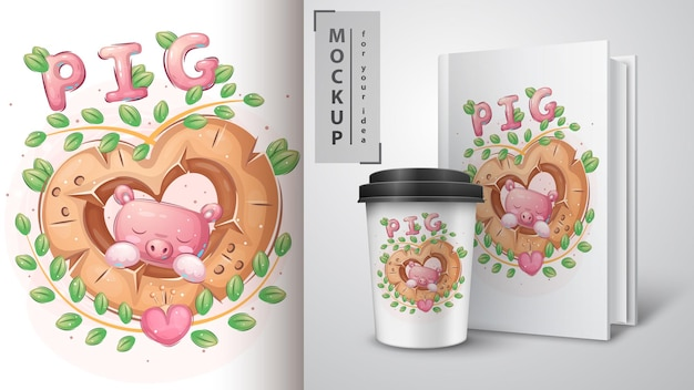 Pig in wood heart illustration and merchandising
