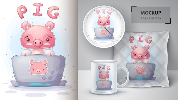 Свинья работает над плакатом и мерчендайзингом в блокноте.