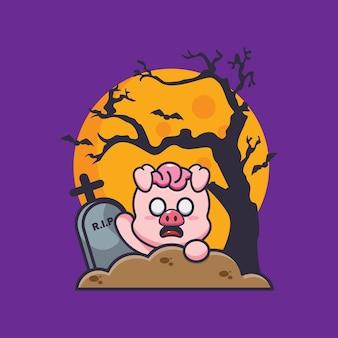 묘지의 돼지 좀비 상승 귀여운 할로윈 만화 일러스트 레이션