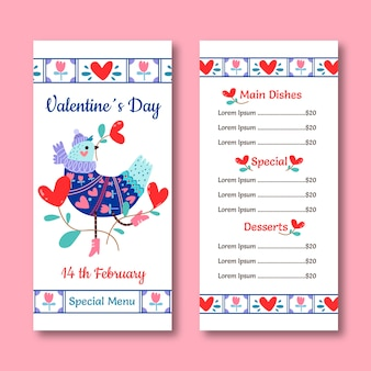 Pigeon and hearts valentine's day menu template
