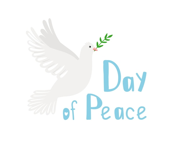 Pigeon of peace. religious symbol of hope, dove image with olive branch, vector illustration concept of day of peace isolated on white background