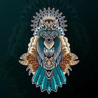 Голубь с орнаментом zentangle и иллюстрацией мандалы