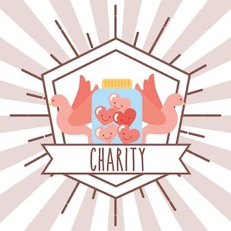 Pigeons jar hearts retro emblem charity image