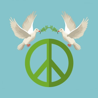 Pigeons with olive branch flying with peace and love symbol
