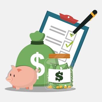 Piggy bag money accounting pencil