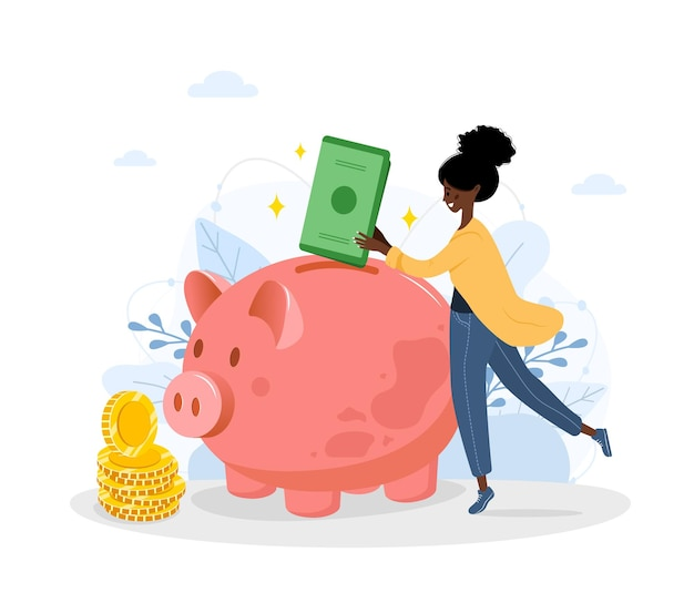 돼지 저금통. 아프리카 여자는 돈 상자에 지폐를 넣습니다. 돈 개념을 저장하십시오.