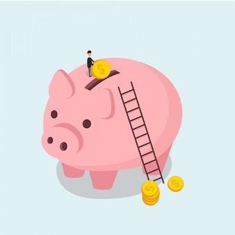 貯金箱と男は等尺性フラットスタイルでコインイラストをスローします
