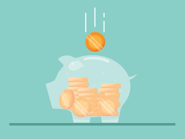 貯金箱とお金のコインのイラストフラット