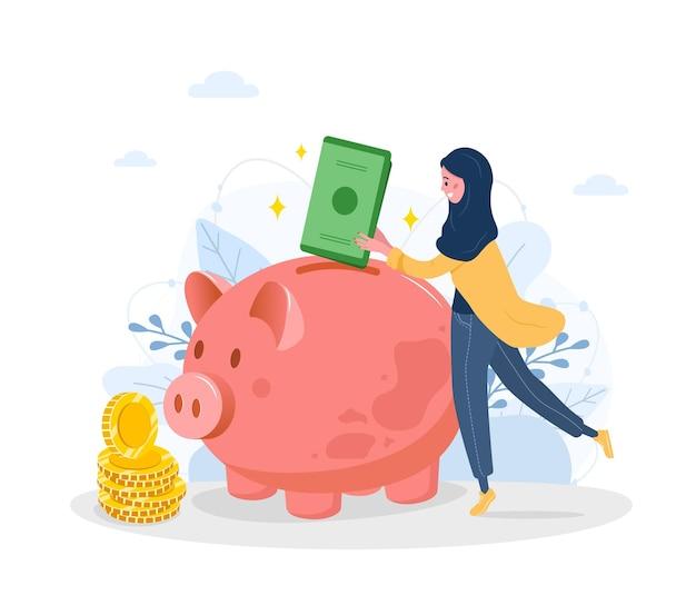 Piggy bank. arab woman puts banknotes in money box.