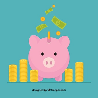 Piggy bank background of business