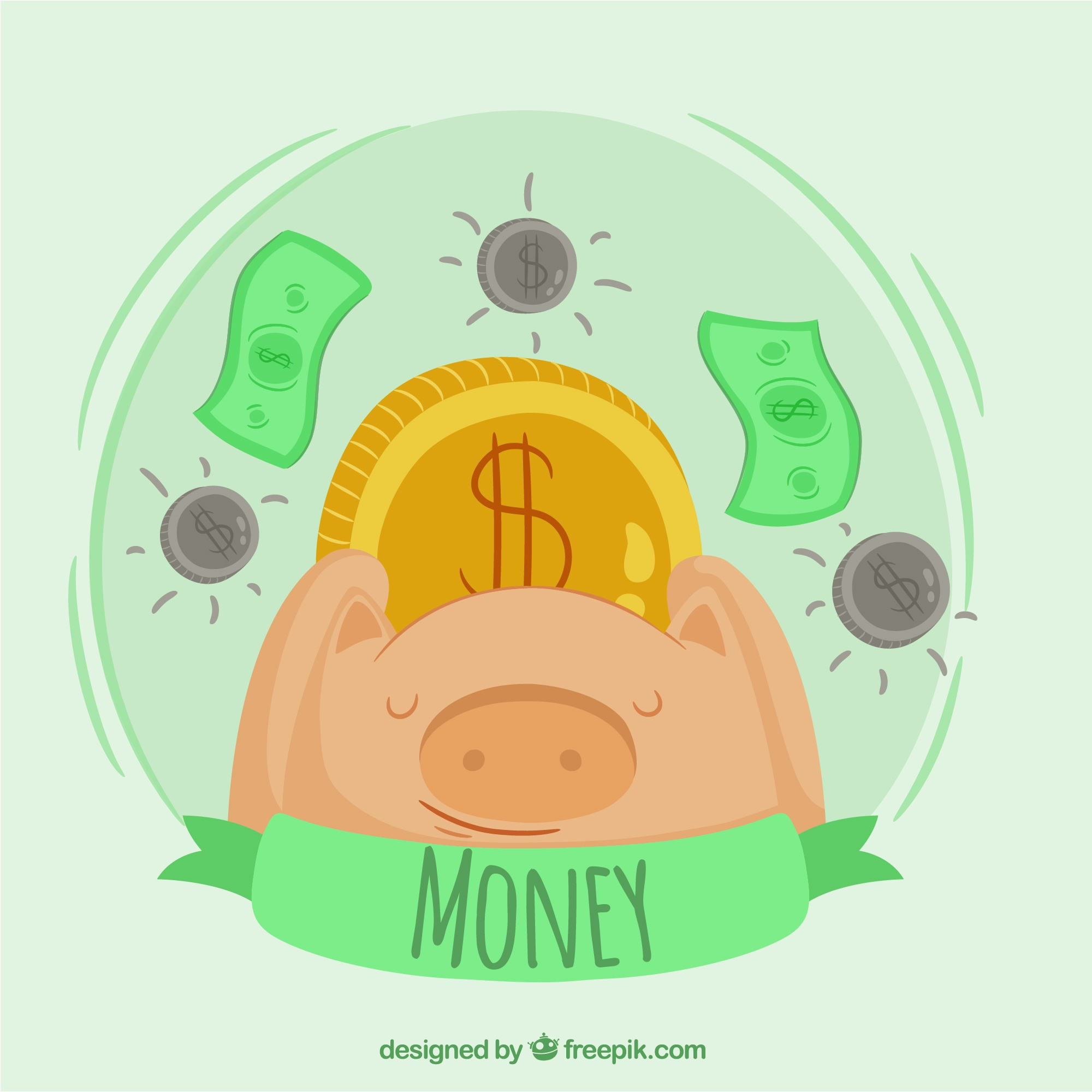 Piggy bank background with coins and bills