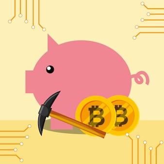 Piggy bank bitcoins hammer vector illustration design
