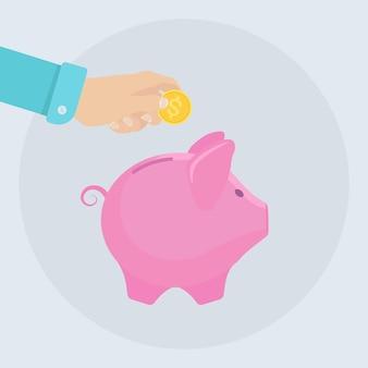 돼지 저금통. 비즈니스 사람 잡고 금화. 돈 절약. 은퇴에 대한 투자. 부, 수입