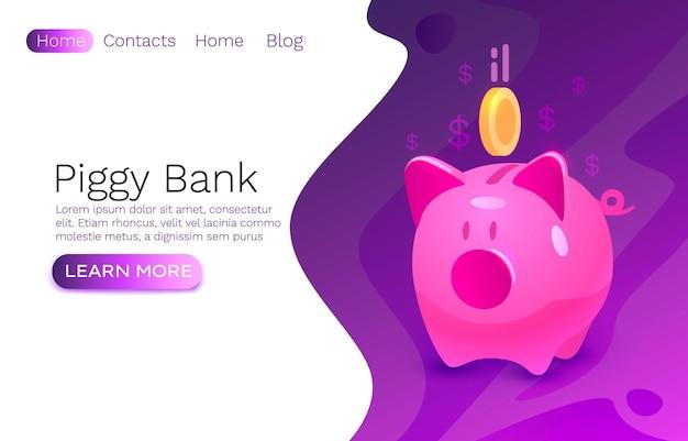 돼지 저금통 현금, 경제 동전 배너, 웹 사이트 간판