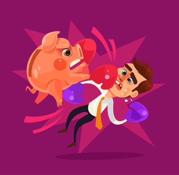 Piggy bank character hit businessman