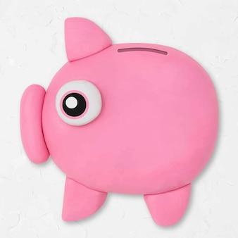 돼지 저금통 점토 아이콘 벡터 귀여운 수 제 금융 크리에이 티브 공예 그래픽