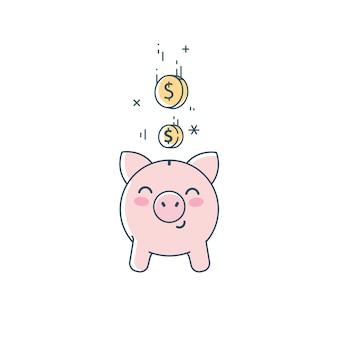 貯金箱のクリップアート。かわいい節約豚と落下コイン線形フラットイラスト。