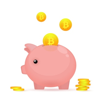 Piggy bank and coins of bitcoin