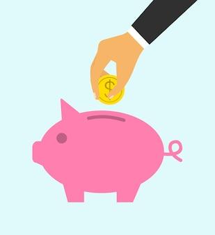 貯金箱。ビジネスマンのコンセプト手は、貯金箱にコインを投げます。預り金。