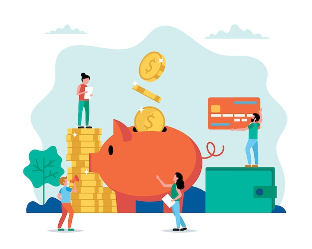 Piggy bank concept vector illustration
