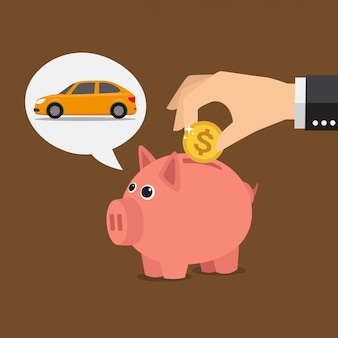 Piggy bank dreaming about car