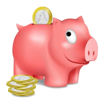 Piggy bank and euro coins, vector illustration