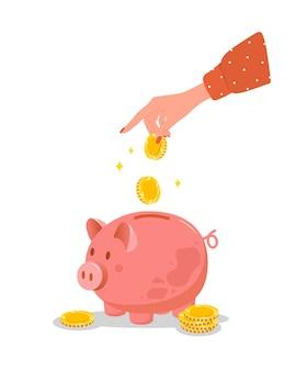돼지 저금통. 여성 손 돈 상자에 금화를 넣습니다. 돈 개념을 저장하십시오.