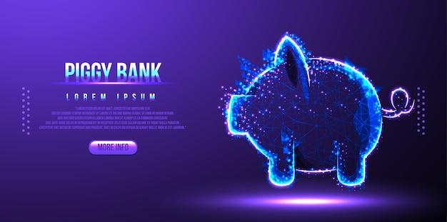 貯金箱金融低ポリワイヤーフレーム